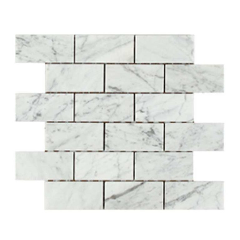 Bologna Marble 2 in x 4 in- Bianco Carrara Honed