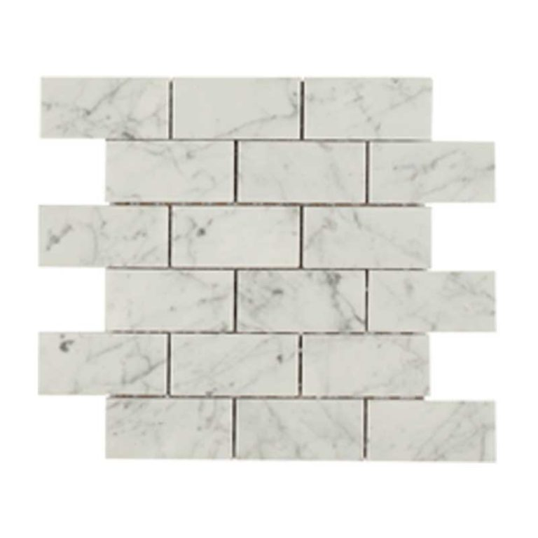 Bologna Marble 2 in x 4 in- Bianco Carrara Polished