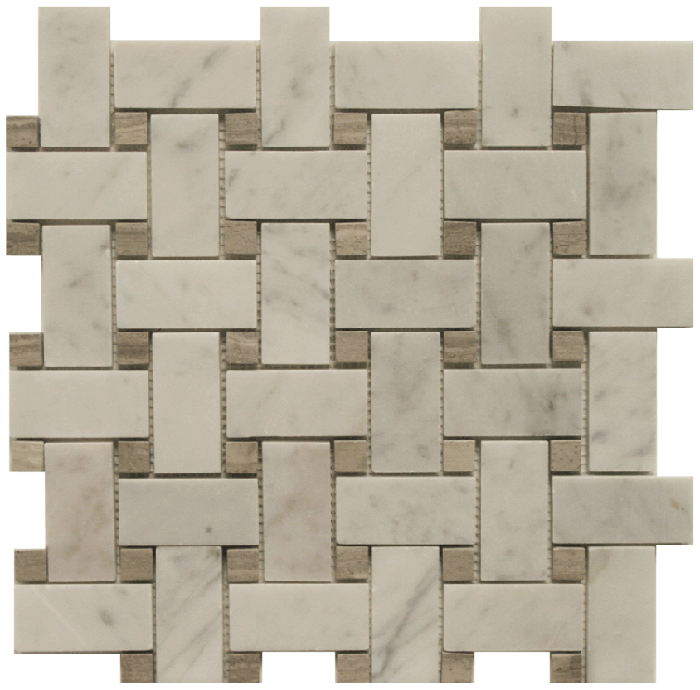 Basketweave - Bianco Carrara/Graystone Polished