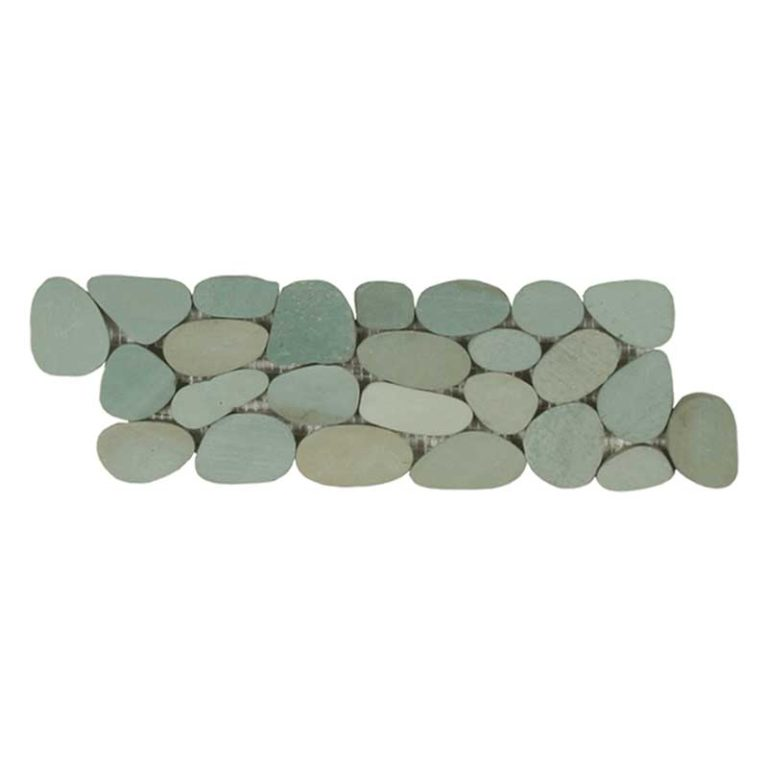 Sliced Pebble Border - Sea Green